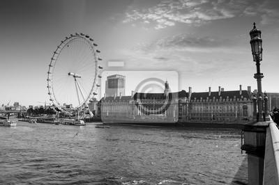 Ver el acuario de Londres y el London Eye de Westminster Bri