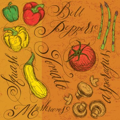Póster Verduras crudas con caligrafía
