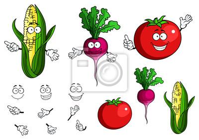 Verduras De Dibujos Animados Feliz Saludables Frescas Carteles Para