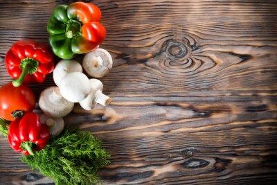 Póster Verduras en el fondo de madera