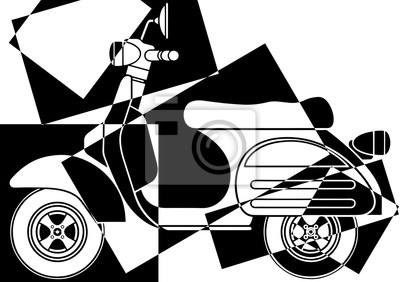 Vespa del arte pop en noir et blanc en