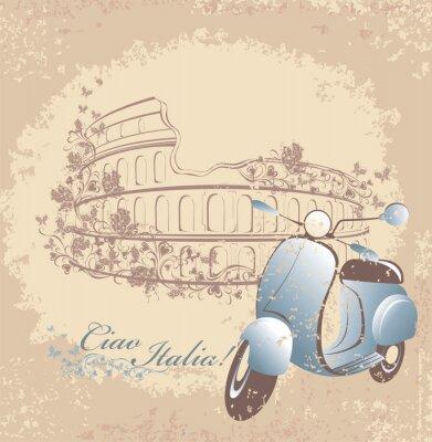 Póster Viaje retro de la tarjeta a Italia. Motos y Coliseo de Roma Vintage