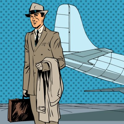 Viajero aéreo de pasajeros viaje de negocios hombre de negocios de arte pop re Masculino