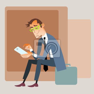 Viajero de negocios se sienta en la bolsa y lee teléfono inteligente