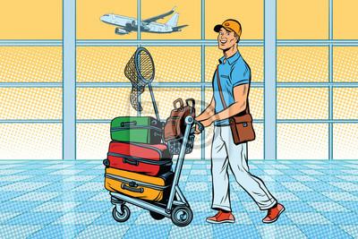 Viajero, turista con equipaje en el aeropuerto