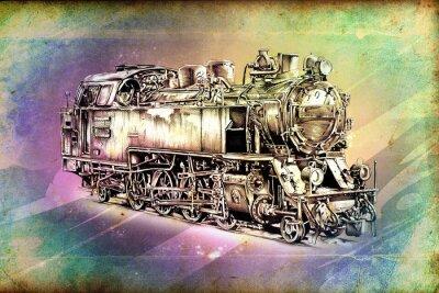 Póster vieja locomotora de vapor retra del motor de la vendimia