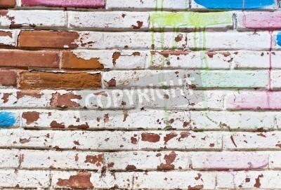 Póster Vieja pared de llenado de pintadas
