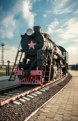 Póster viejas locomotoras de vapor del siglo 20