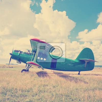 Viejo avión en la hierba verde