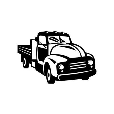 Vintage American Pickup Truck with Wood Side Rails Front Retro Woodcut Black and White