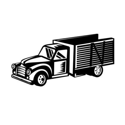 Vintage Classic American Pickup Truck with Wood Side Rails Retro Woodcut Black and White