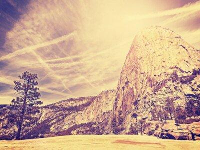 Póster Vintage estilizada fondo de la naturaleza de montaña, EE.UU..