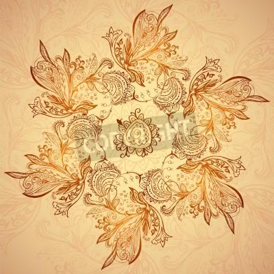 Póster Vintage ethnic vector ornament mandala background