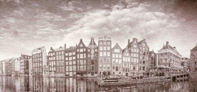 Póster Vintage foto de los edificios de Amsterdam