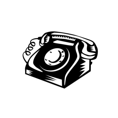 Vintage Landline Telephone Woodcut