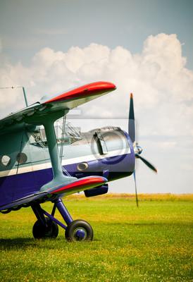 Vintage monomotor biplano avión entonado