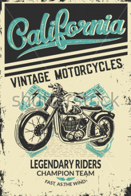 Póster Vintage motorcycle placard with motorbike. Vector illustration.