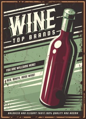 Póster Vintage poster of a bottle of wine. Overlay vector texture. Minimalism old banner, vector image.