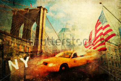 Póster vintage style collage of New York city symbols