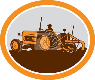 Vintage Tractor Granjero que ara Oval Retro