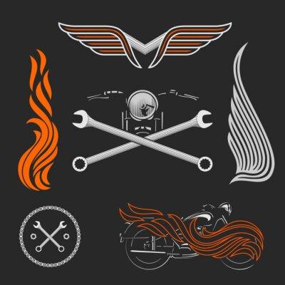 Póster Vintage vector motocicleta logotipos, emblemas, plantillas, etiquetas, símbolos y elementos de diseño de moto.