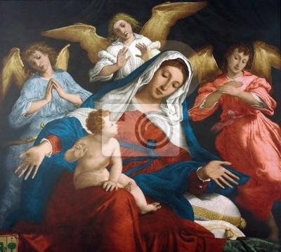 Virgen María Con El Niño Jesús Y Los ángeles Carteles Para La Pared