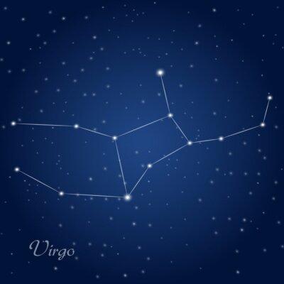 Póster Virgo signo del zodiaco constelación en el cielo nocturno estrellado