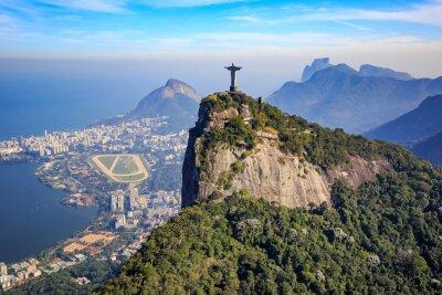 Póster Vista aérea de Cristo Redentor y la ciudad de Río de Janeiro