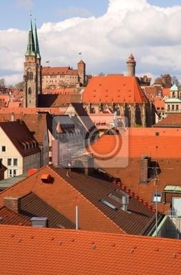 Vista aérea de los techos Nuremberg. Baviera, Alemania