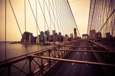 Póster Vista del distrito financiero desde el puente de Brooklyn