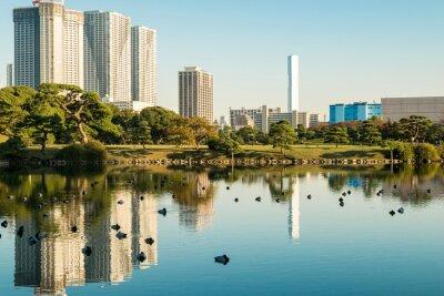 Póster Vista del paisaje urbano de tokio con el parque