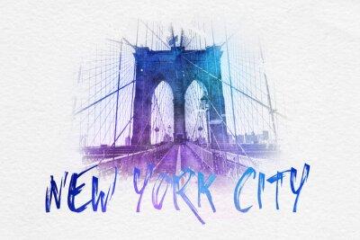 Póster Vista delantera del puente de Brooklyn con el texto de NYC
