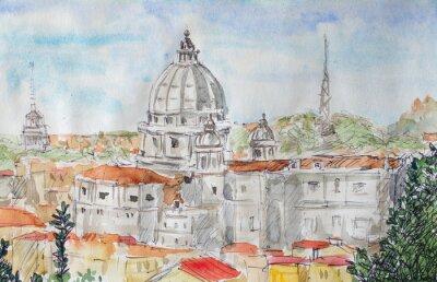 Póster Vista general de Roma acuarela