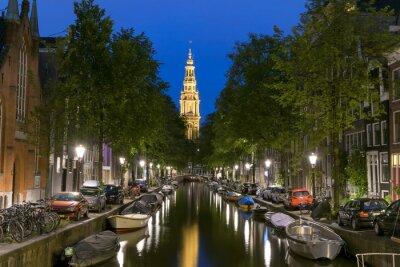 Póster Vista nocturna de Zuiderkerk en Amsterdam