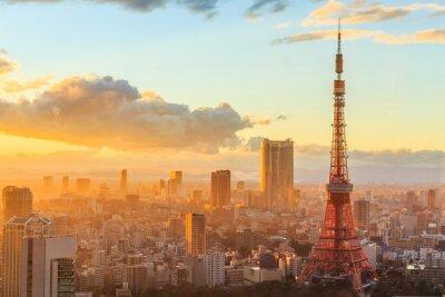 Póster Vista panorámica de Osaka desde la planta superior del edificio más alto