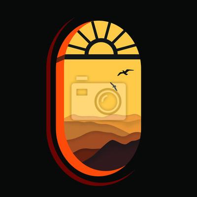 Póster Vista vectorial desde la ventana. Precioso paisaje. Panorama de montañas y pájaros volando. Puesta de sol. Arte Moderno.