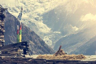 Póster Vistas a la montaña, Annapurnas en Nepal.