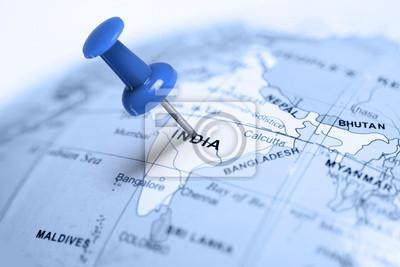Vivo en India. Pin azul en el mapa.
