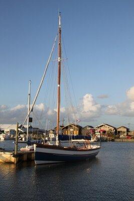 Voilier, bateau, océano, ciel, bleu, nuage, eau