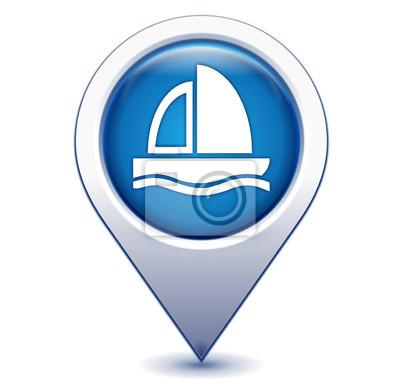 voilier bateau sur marqueur Geolocalisation bleu