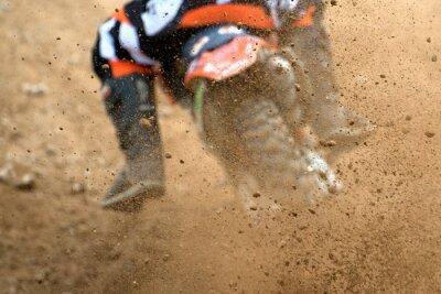 Póster Volar, escombros, motocross, suciedad, pista