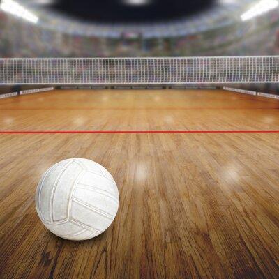 Póster Voleibol, corte, bola, madera, piso, copia, espacio