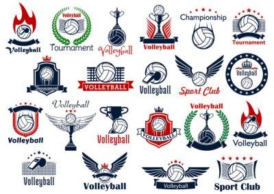 Póster Voleibol deporte juego iconos y símbolos