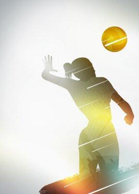 Póster Voleibol diseño plano de fondo