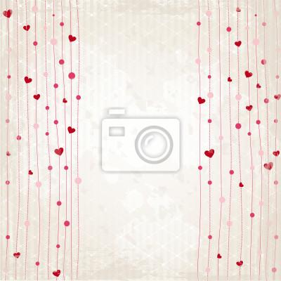 Póster Vorhang aus Herzen - Grunge Hintergrund