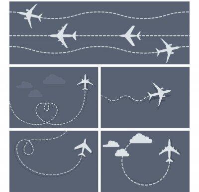 Póster Vuelo Plano - rastro de puntos del avión, en forma de corazón y he aquí