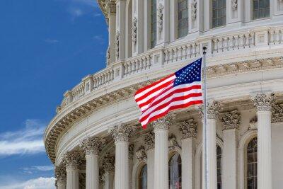 Póster Washington DC Capitolio detalle en el cielo nublado