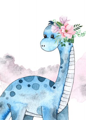 Póster Watercolor and graphic dinosaurs pre-made cards with Brachiosaurus, Stegosaurus on white background with watercolor shapes