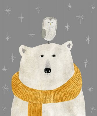 Póster watercolor and pencil drawing of a polar bear with an owl on his head. Christmas illustration