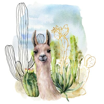 Póster Watercolor and sketch desert landscapes card with lama. Hand painted golden and black mexican cactus, sky and clouds. Botanical illustration isolated on white background for design, print, fabric.